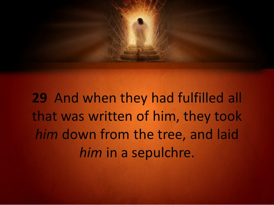 29 And when they had fulfilled all that was written of him, they took him down from the tree, and laid him in a sepulchre.