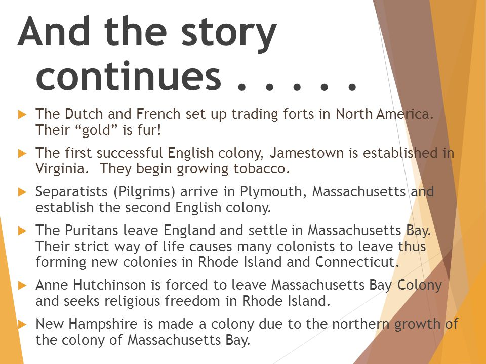 "And the story continues.....  The Dutch and French set up trading forts in North America. Their ""gold"" is fur!  The first successful English colony,"