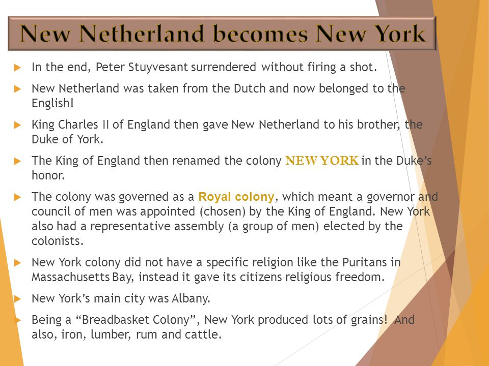  In the end, Peter Stuyvesant surrendered without firing a shot.  New Netherland was taken from the Dutch and now belonged to the English!  King Ch