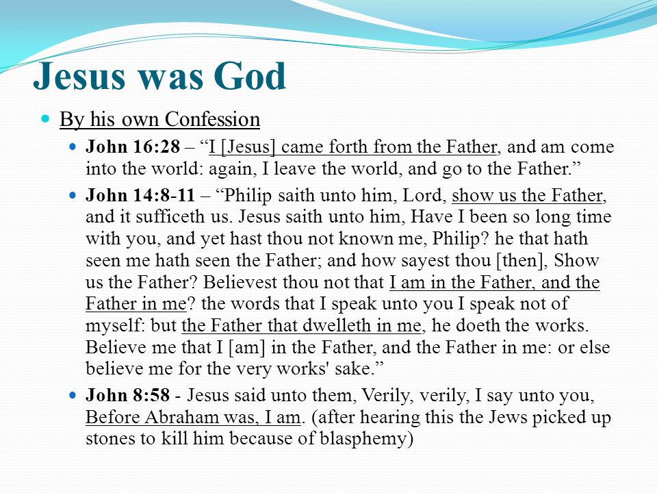 Jesus was God By his own Confession John 16:28 – I [Jesus] came forth from the Father, and am come into the world: again, I leave the world, and go to the Father. John 14:8-11 – Philip saith unto him, Lord, show us the Father, and it sufficeth us.