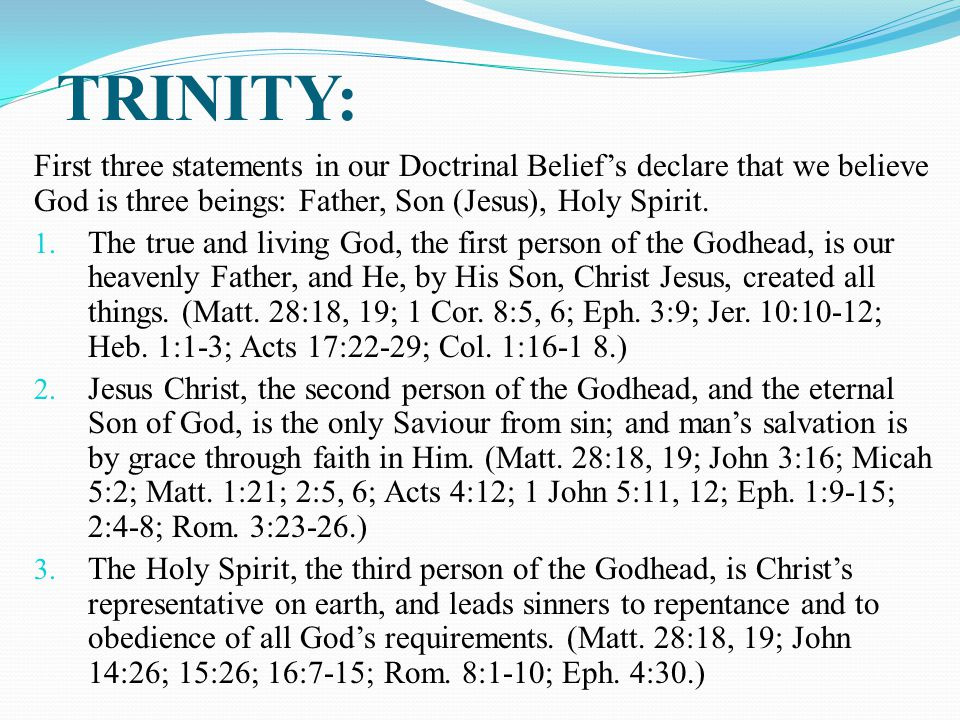TRINITY: First three statements in our Doctrinal Belief's declare that we believe God is three beings: Father, Son (Jesus), Holy Spirit.