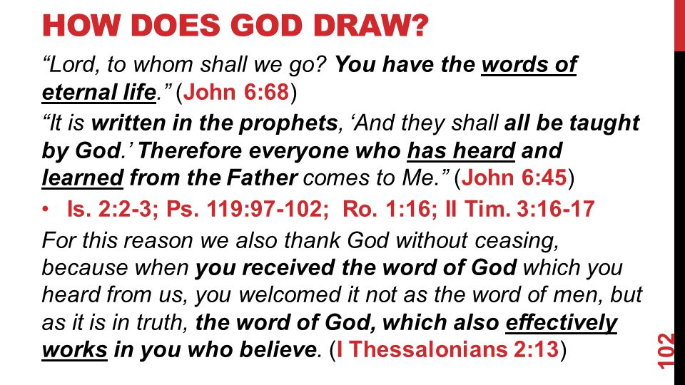 HOW DOES GOD DRAW. Lord, to whom shall we go.