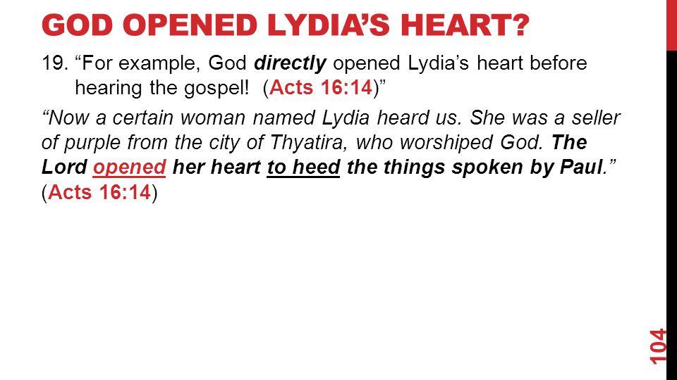GOD OPENED LYDIA'S HEART.