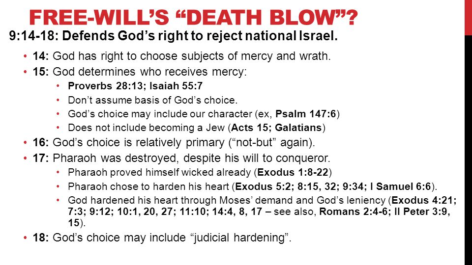FREE-WILL'S DEATH BLOW . 9:14-18: Defends God's right to reject national Israel.