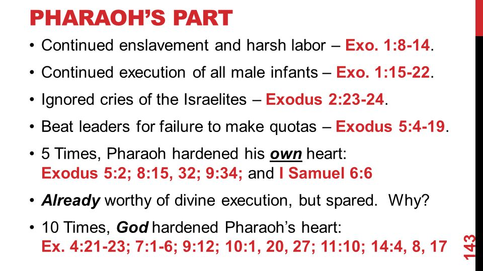 PHARAOH'S PART Continued enslavement and harsh labor – Exo.