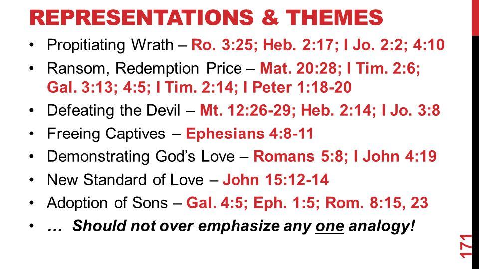 REPRESENTATIONS & THEMES Propitiating Wrath – Ro.3:25; Heb.
