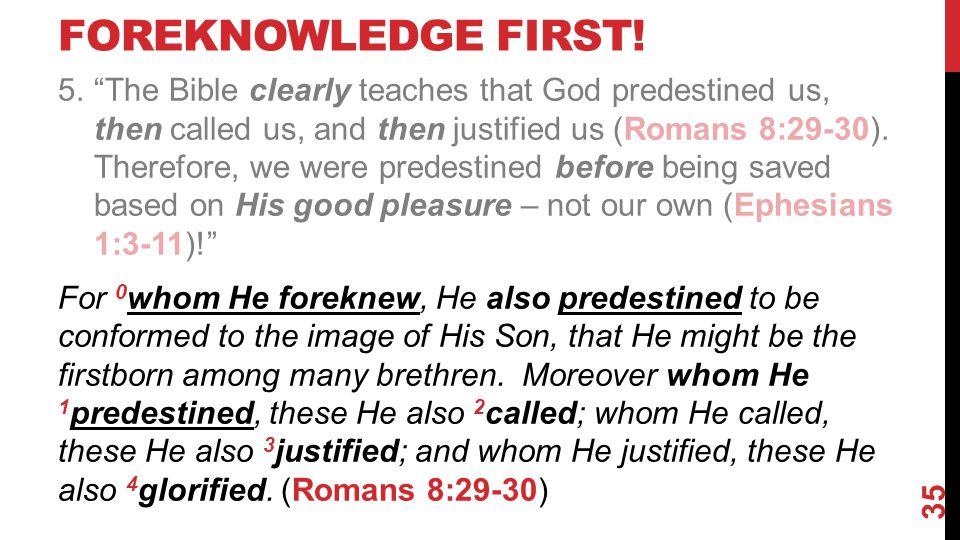 FOREKNOWLEDGE FIRST.