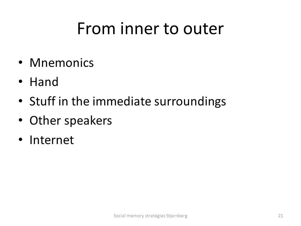 From inner to outer Mnemonics Hand Stuff in the immediate surroundings Other speakers Internet Social memory strategies Stjernberg21