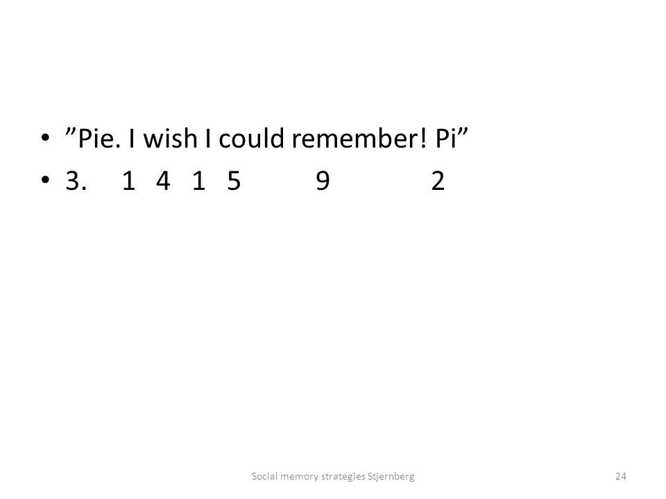Pie. I wish I could remember! Pi 3. 1 4 1 5 9 2 Social memory strategies Stjernberg24
