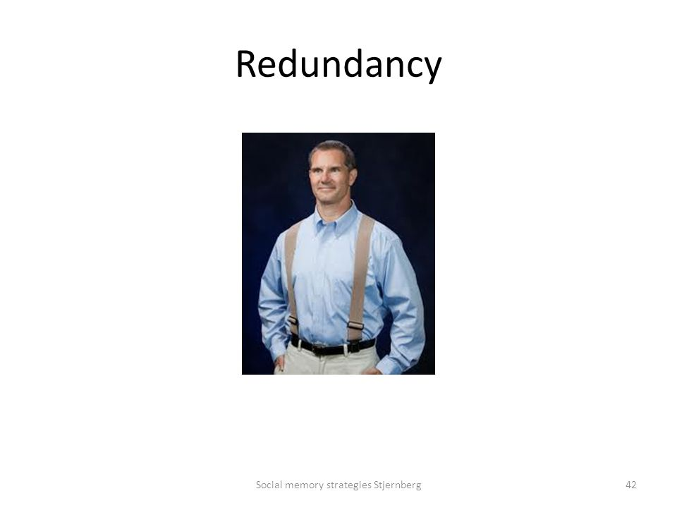 Redundancy Social memory strategies Stjernberg42