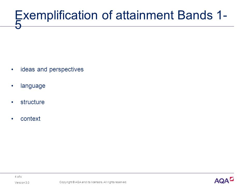 4 of x Exemplification of attainment Bands 1- 5 ideas and perspectives language structure context Copyright © AQA and its licensors. All rights reserv