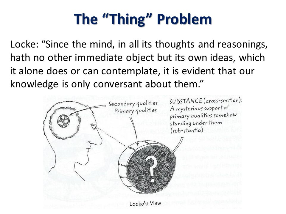 The Thing Problem Locke: Since the mind, in all its thoughts and reasonings, hath no other immediate object but its own ideas, which it alone does or can contemplate, it is evident that our knowledge is only conversant about them.