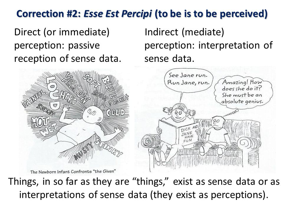 Correction #2: Esse Est Percipi (to be is to be perceived) Direct (or immediate) perception: passive reception of sense data.