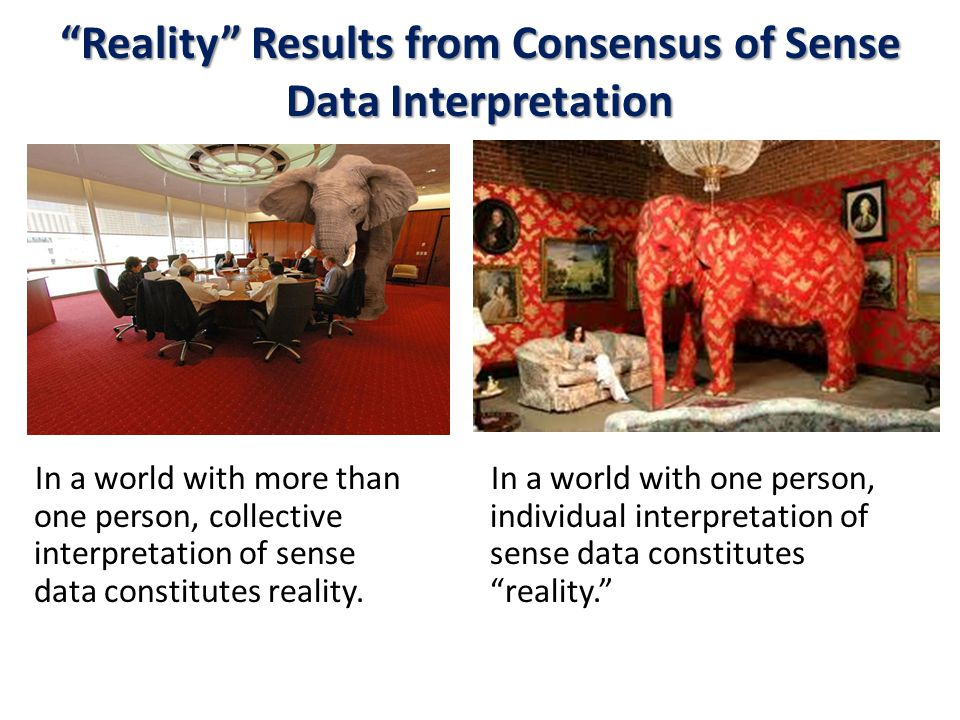 Reality Results from Consensus of Sense Data Interpretation In a world with more than one person, collective interpretation of sense data constitutes reality.
