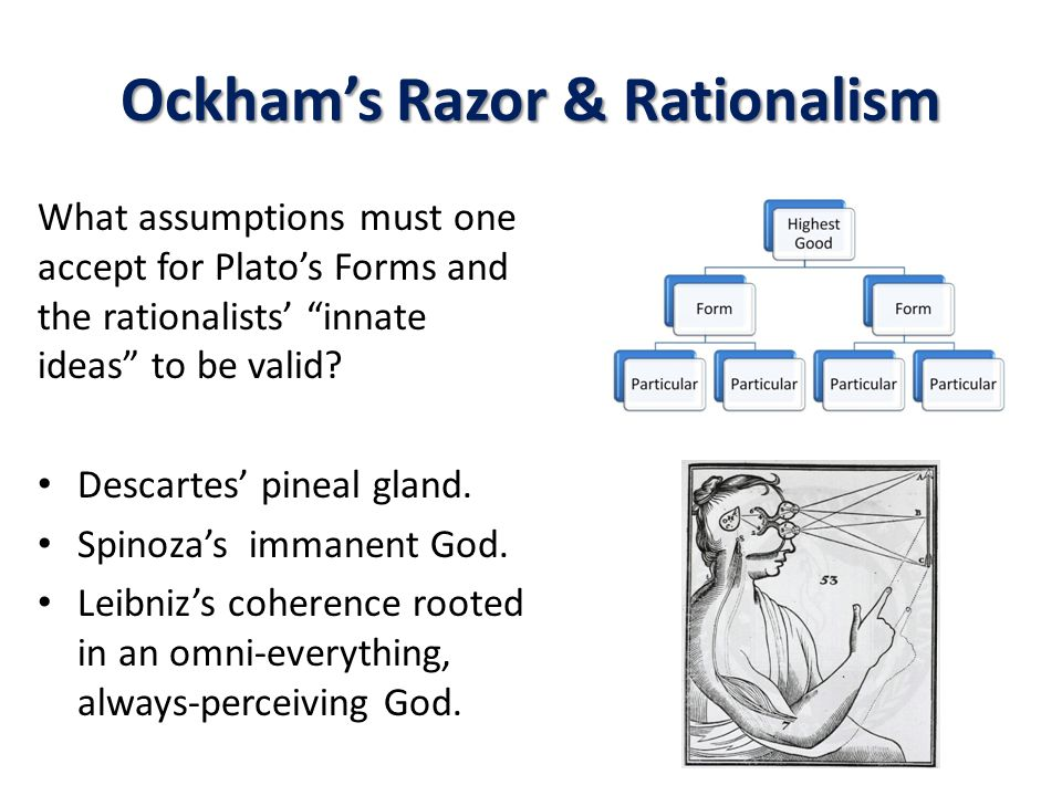 Ockham's Razor & Rationalism What assumptions must one accept for Plato's Forms and the rationalists' innate ideas to be valid.