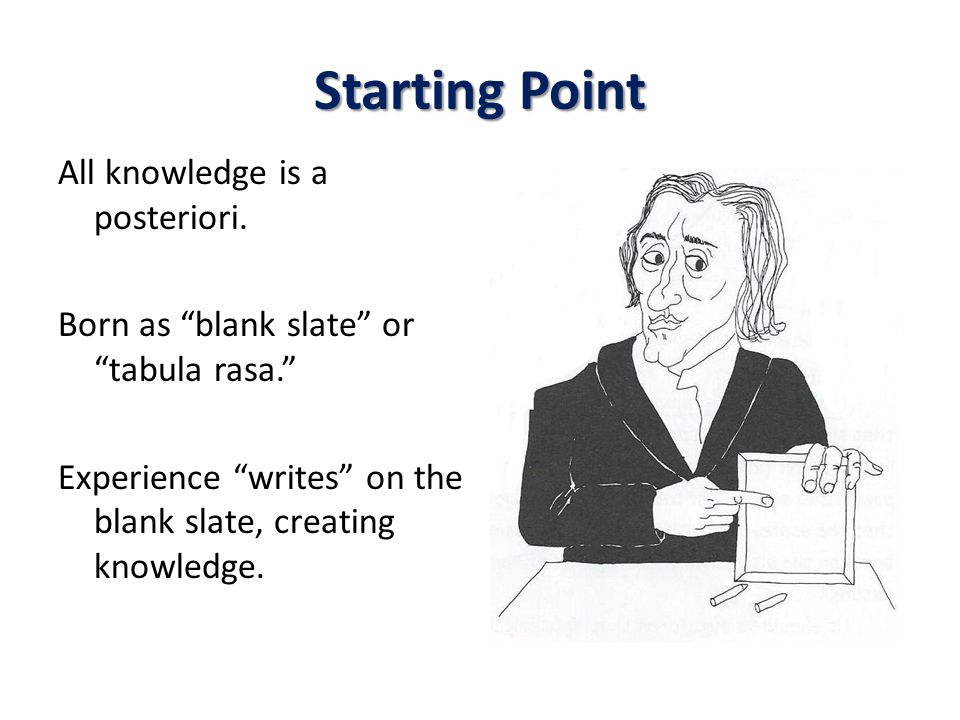 Starting Point All knowledge is a posteriori.