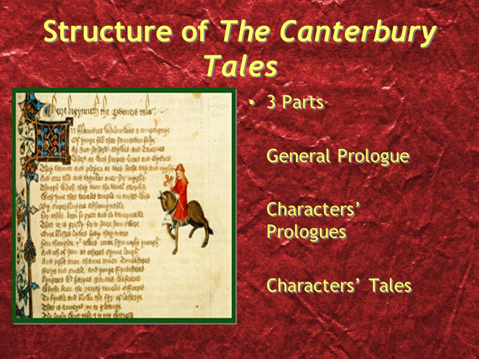 Structure of The Canterbury Tales 3 Parts General Prologue Characters' Prologues Characters' Tales 3 Parts General Prologue Characters' Prologues Characters' Tales
