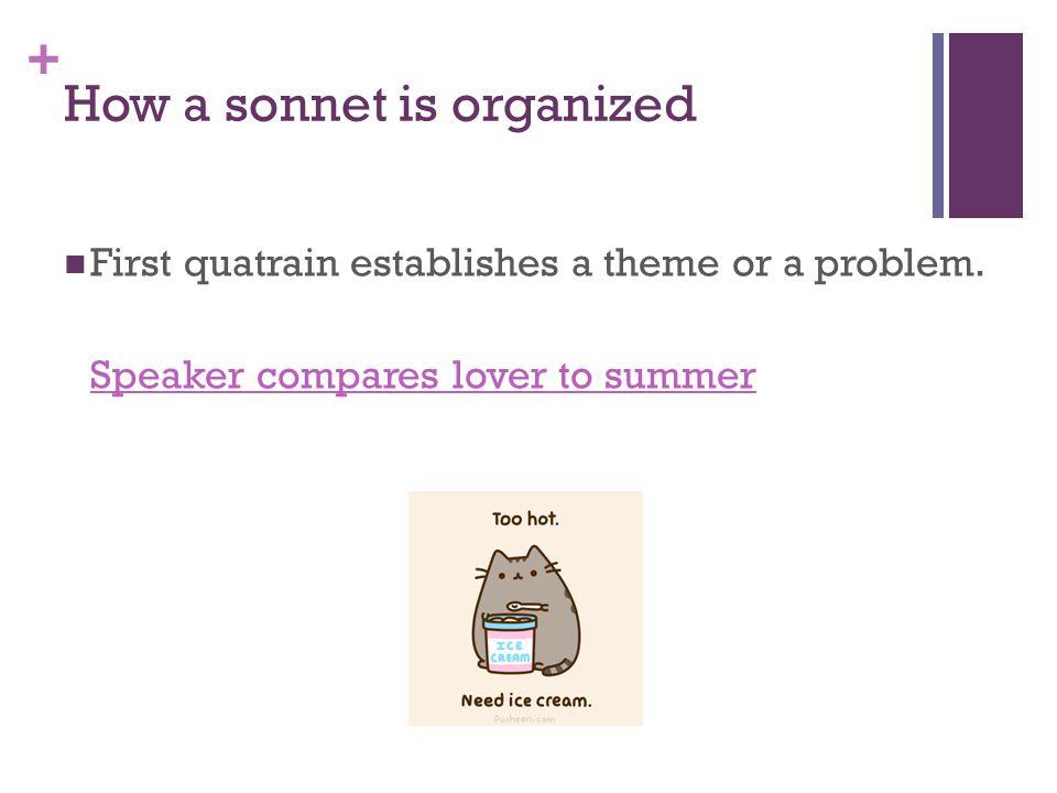 + How a sonnet is organized First quatrain establishes a theme or a problem.