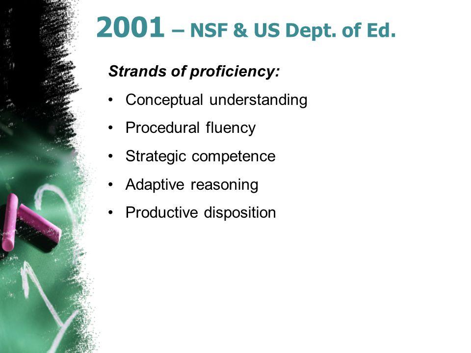 2001 – NSF & US Dept. of Ed.