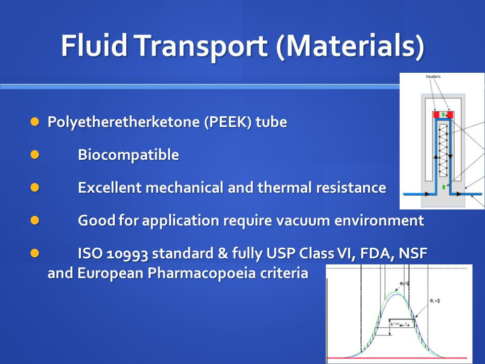 Fluid Transport (Materials) Polyetheretherketone (PEEK) tube Polyetheretherketone (PEEK) tube Biocompatible Biocompatible Excellent mechanical and thermal resistance Excellent mechanical and thermal resistance Good for application require vacuum environment Good for application require vacuum environment ISO 10993 standard & fully USP Class VI, FDA, NSF and European Pharmacopoeia criteria ISO 10993 standard & fully USP Class VI, FDA, NSF and European Pharmacopoeia criteria