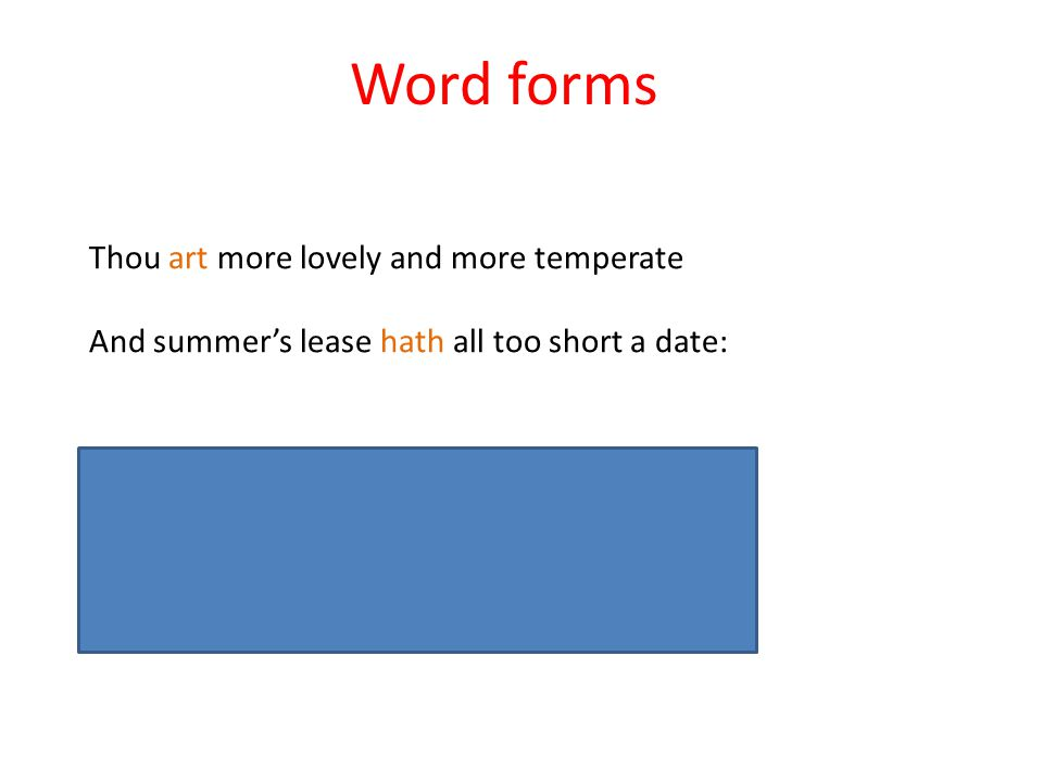 Word forms Thou art more lovely and more temperate And summer's lease hath all too short a date: You ARE more lovely and more temperate And summer's l