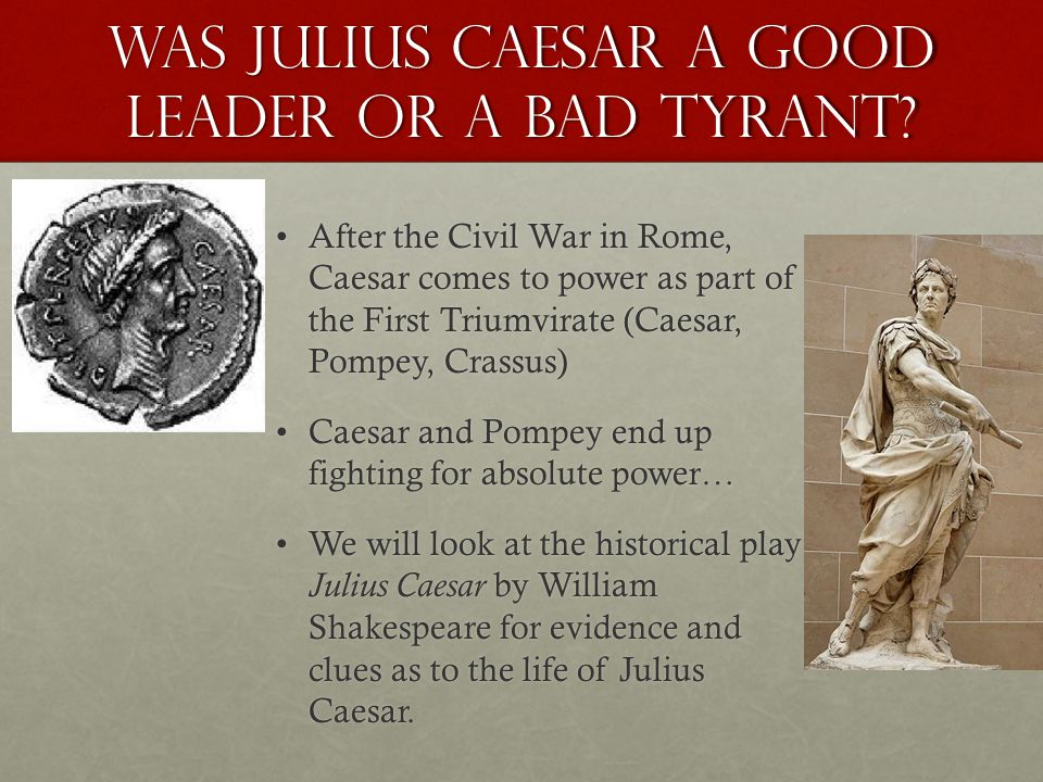 Julius Caesar A tragedy by William Shakespeare The play opens with a parade celebrating Caesar's victory in the battle for power against PompeyThe play opens with a parade celebrating Caesar's victory in the battle for power against Pompey A soothsayer calls to Caesar to beware the Ides of March, but Caesar ignores him.A soothsayer calls to Caesar to beware the Ides of March, but Caesar ignores him.