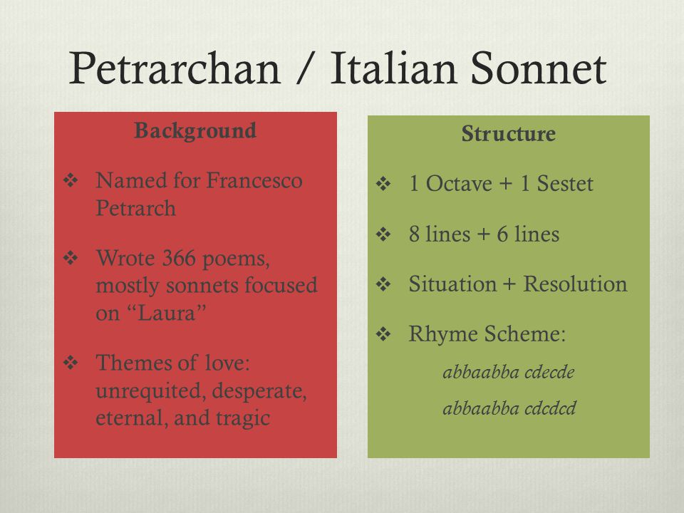 """Petrarchan / Italian Sonnet Background  Named for Francesco Petrarch  Wrote 366 poems, mostly sonnets focused on """"Laura""""  Themes of love: unrequite"""