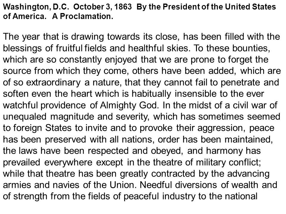 Washington, D.C. October 3, 1863 By the President of the United States of America.
