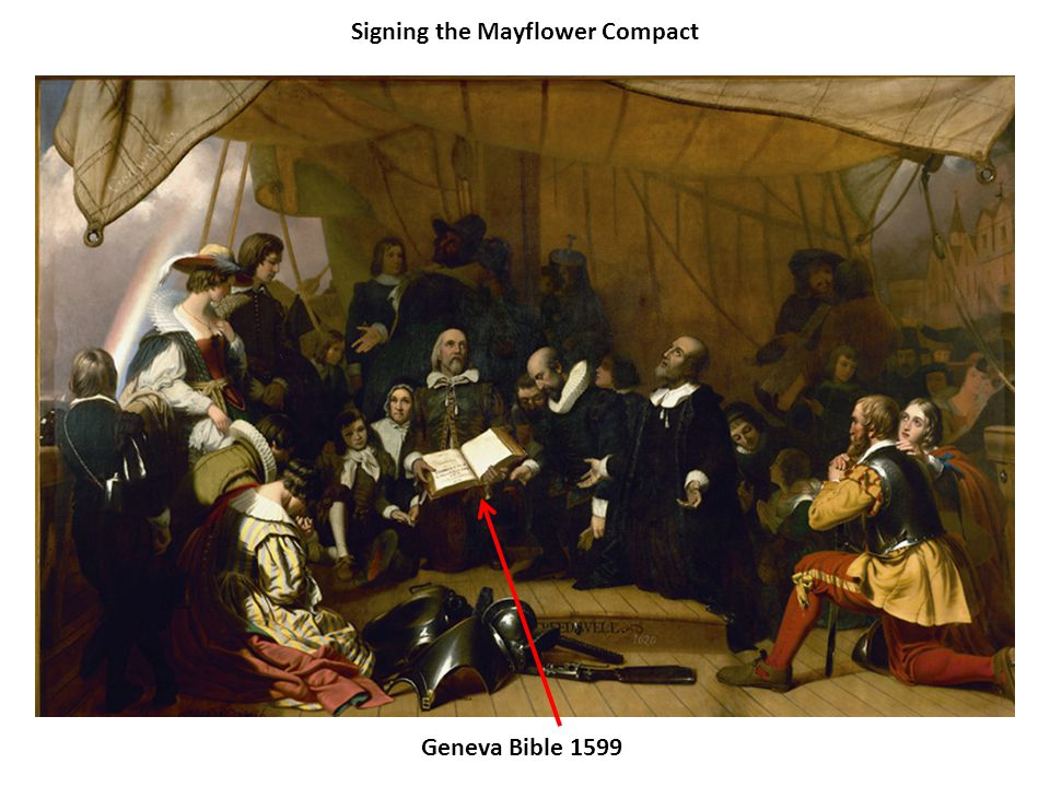 Signing the Mayflower Compact Geneva Bible 1599