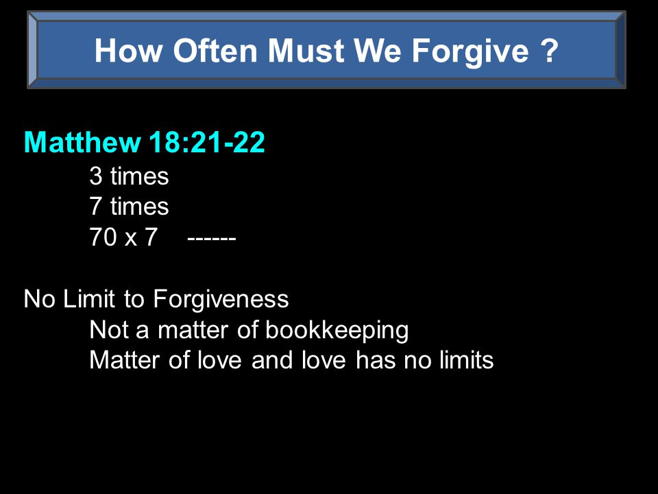 How Often Must We Forgive .