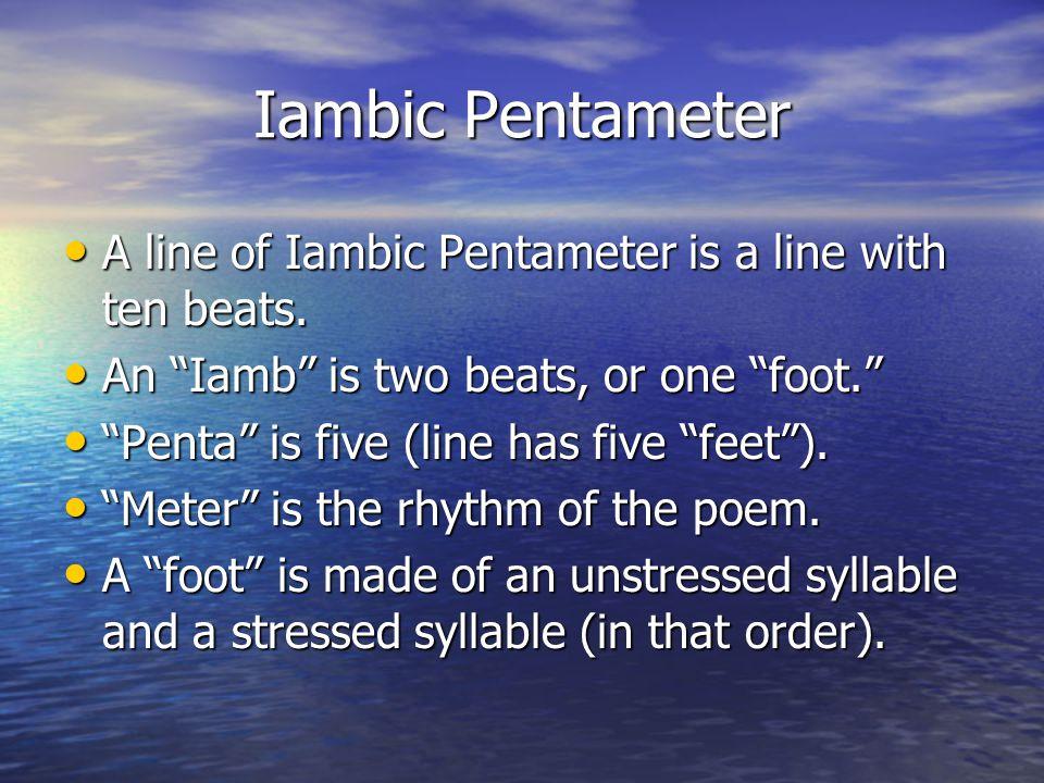 Sonnet Form A sonnet has 14 lines. A sonnet has 14 lines. A sonnet must be written in iambic pentameter A sonnet must be written in iambic pentameter