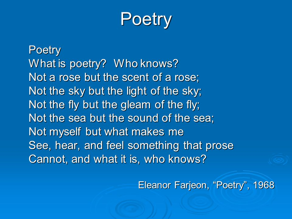 What can poetry do for you.