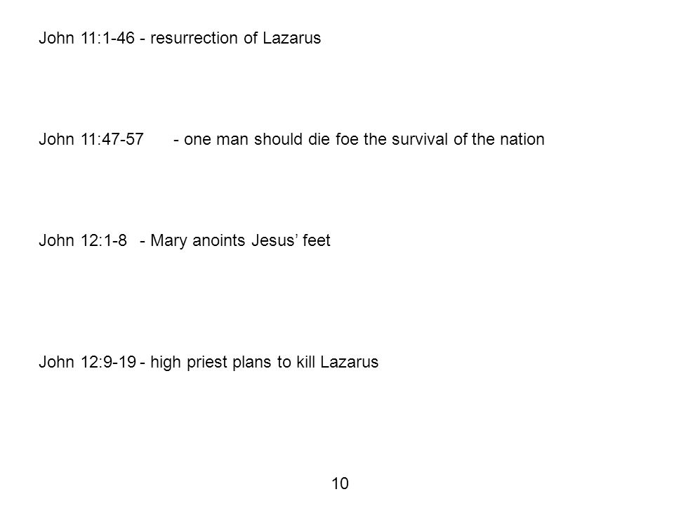John 11:1-46- resurrection of Lazarus John 11:47-57- one man should die foe the survival of the nation John 12:1-8- Mary anoints Jesus' feet John 12:9-19- high priest plans to kill Lazarus 10