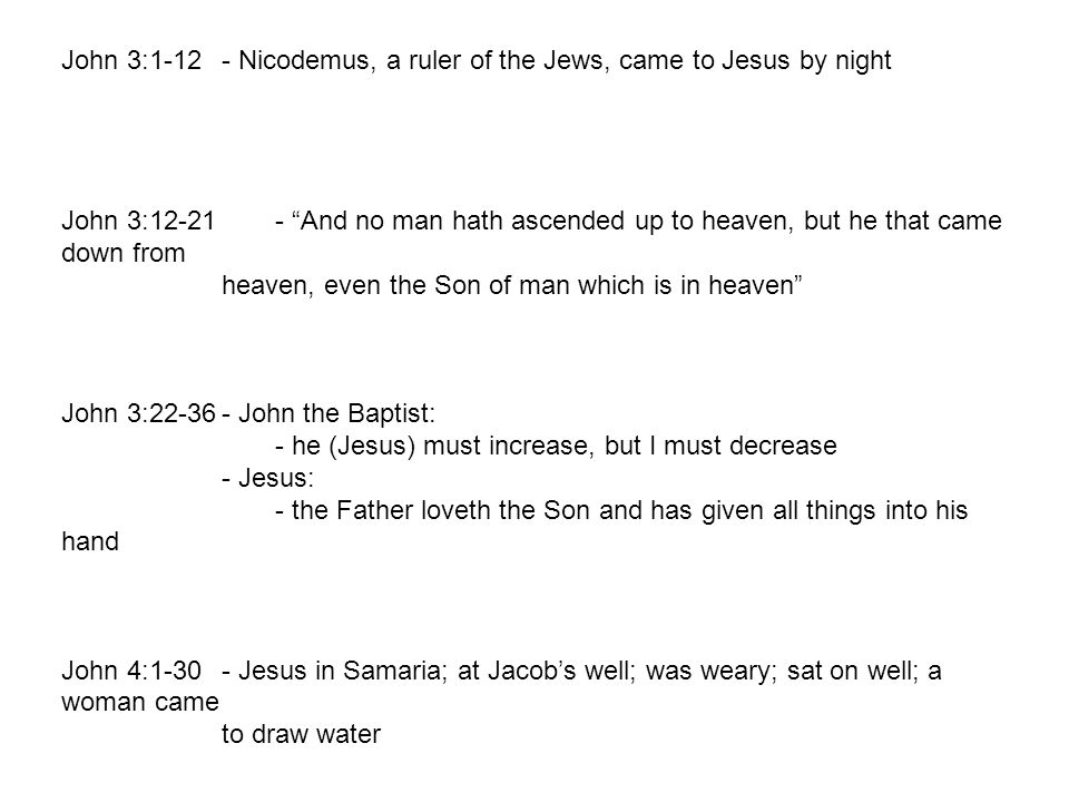 John 3:1-12 - Nicodemus, a ruler of the Jews, came to Jesus by night John 3:12-21 - And no man hath ascended up to heaven, but he that came down from heaven, even the Son of man which is in heaven John 3:22-36- John the Baptist: - he (Jesus) must increase, but I must decrease - Jesus: - the Father loveth the Son and has given all things into his hand John 4:1-30- Jesus in Samaria; at Jacob's well; was weary; sat on well; a woman came to draw water 2