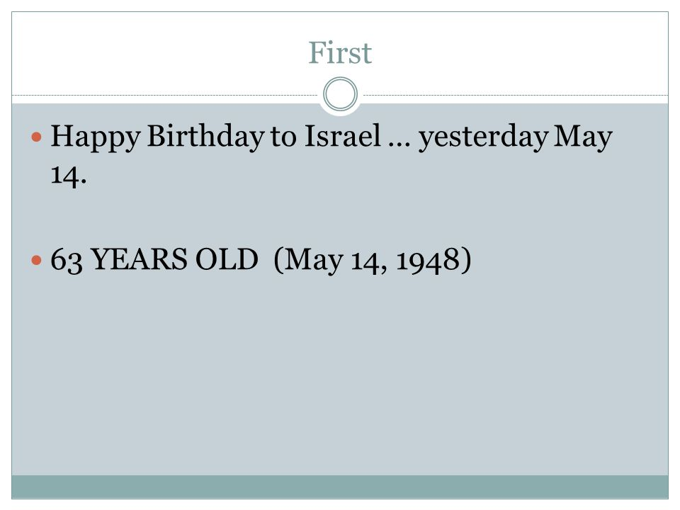 First Happy Birthday to Israel … yesterday May 14. 63 YEARS OLD (May 14, 1948)