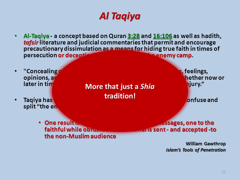 Al Taqiya Al-Taqiya3:2816:106 tafsir or deception when penetrating the enemy camp Al-Taqiya - a concept based on Quran 3:28 and 16:106 as well as hadith, tafsir literature and judicial commentaries that permit and encourage precautionary dissimulation as a means for hiding true faith in times of persecution or deception when penetrating the enemy camp.