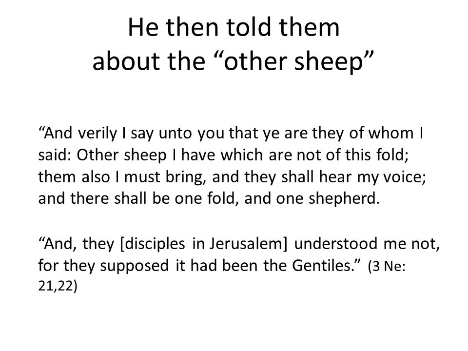 He then told them about the other sheep And verily I say unto you that ye are they of whom I said: Other sheep I have which are not of this fold; them also I must bring, and they shall hear my voice; and there shall be one fold, and one shepherd.