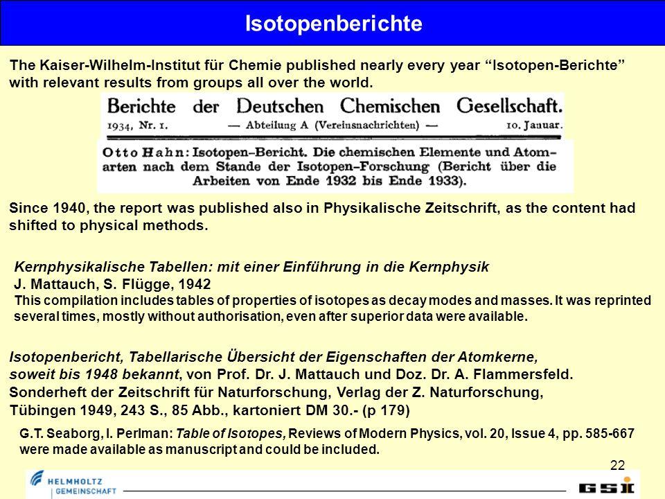 22 Isotopenberichte Isotopenbericht, Tabellarische Übersicht der Eigenschaften der Atomkerne, soweit bis 1948 bekannt, von Prof.