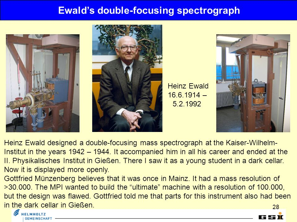 28 Ewald's double-focusing spectrograph Heinz Ewald designed a double-focusing mass spectrograph at the Kaiser-Wilhelm- Institut in the years 1942 – 1944.