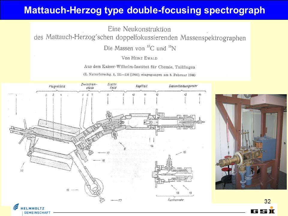 32 Mattauch-Herzog type double-focusing spectrograph
