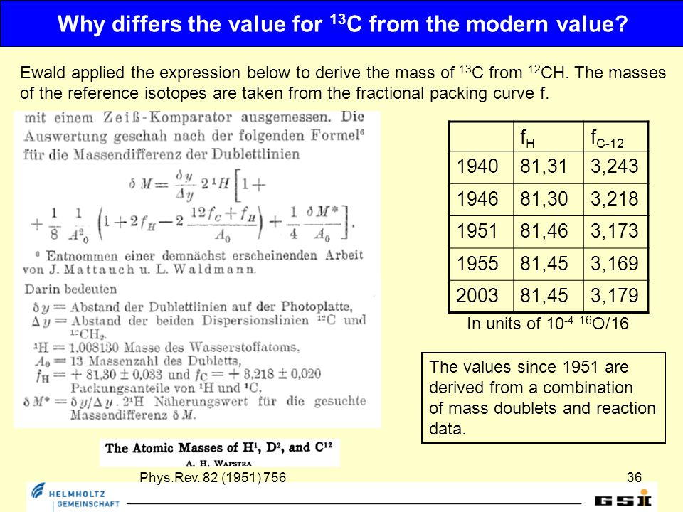 36 Why differs the value for 13 C from the modern value.