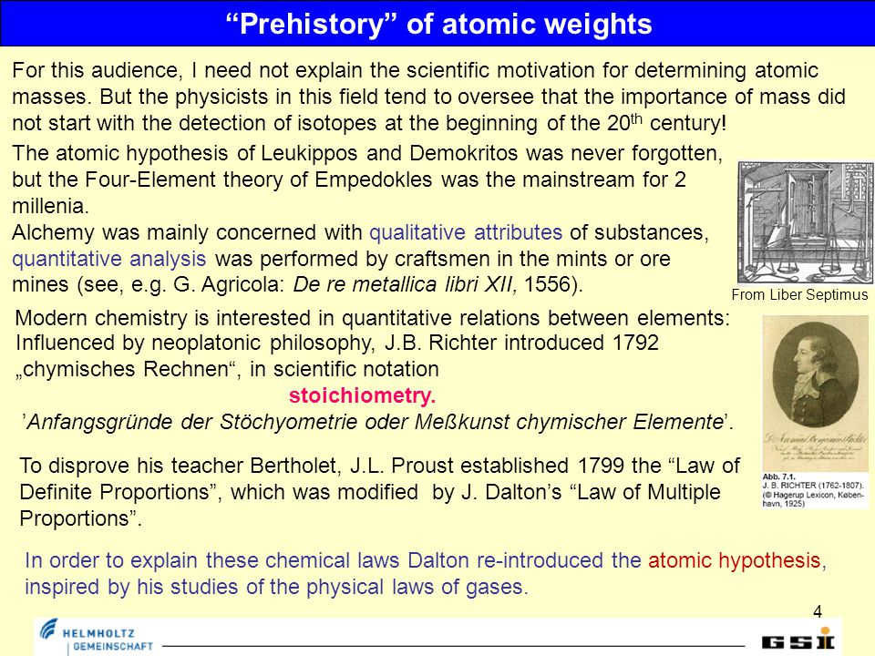 4 Prehistory of atomic weights The atomic hypothesis of Leukippos and Demokritos was never forgotten, but the Four-Element theory of Empedokles was the mainstream for 2 millenia.