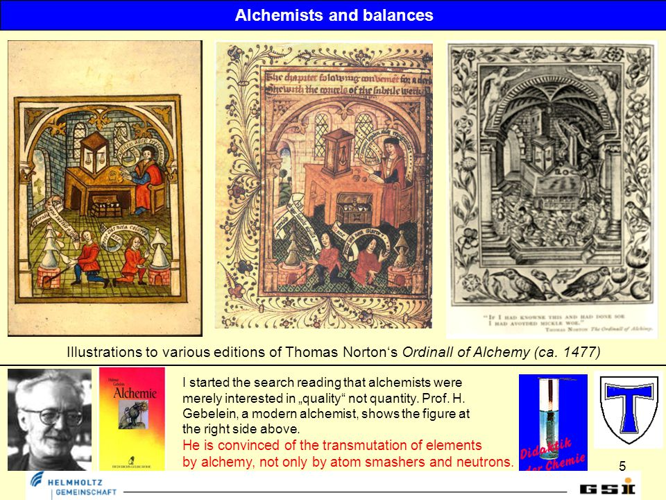 5 Illustrations to various editions of Thomas Norton's Ordinall of Alchemy (ca.