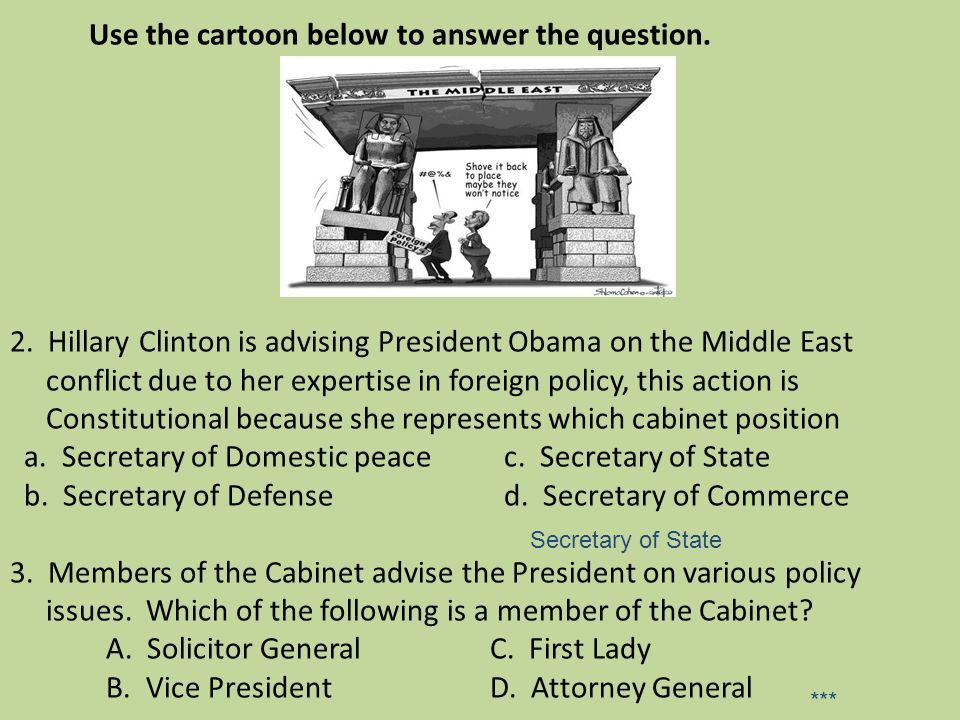 Use the cartoon below to answer the question. 2. Hillary Clinton is advising President Obama on the Middle East conflict due to her expertise in forei