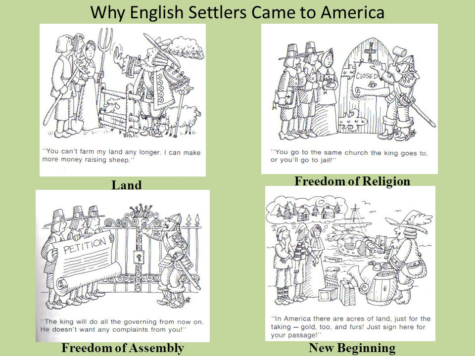 Why English Settlers Came to America Land Freedom of Assembly Freedom of Religion New Beginning