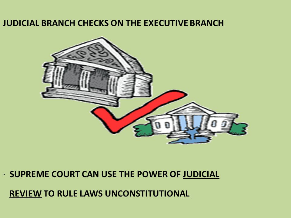 JUDICIAL BRANCH CHECKS ON THE EXECUTIVE BRANCH · SUPREME COURT CAN USE THE POWER OF JUDICIAL REVIEW TO RULE LAWS UNCONSTITUTIONAL