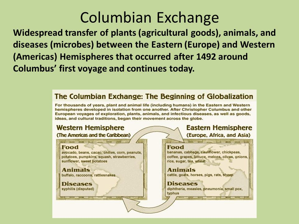 Columbian Exchange Widespread transfer of plants (agricultural goods), animals, and diseases (microbes) between the Eastern (Europe) and Western (Amer