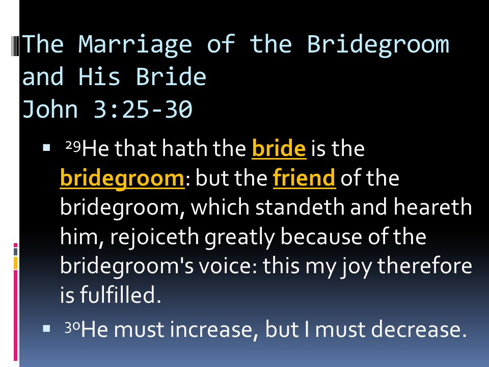 The Marriage of the Bridegroom and His Bride John 3:25-30  29 He that hath the bride is the bridegroom: but the friend of the bridegroom, which standeth and heareth him, rejoiceth greatly because of the bridegroom s voice: this my joy therefore is fulfilled.