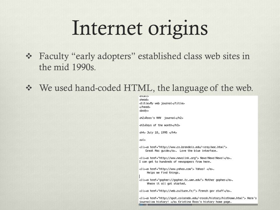 Internet origins  Faculty early adopters established class web sites in the mid 1990s.