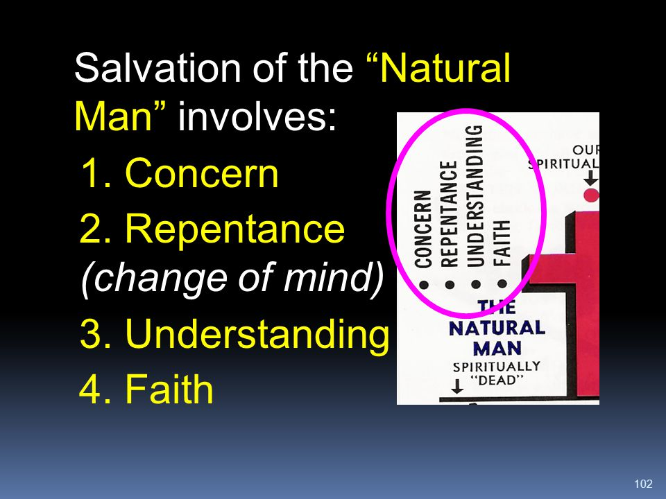 """102 Salvation of the """"Natural Man"""" involves: 1. Concern 2. Repentance (change of mind) 3. Understanding 4. Faith"""